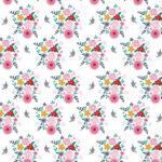 Birdy Flowers, weiss, Baumwolle