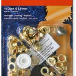YKK 83486 Ösen und Scheiben 5,5 mm messing, 40 Stück