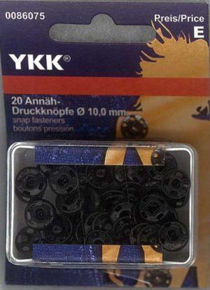 YKK 86075 Annäh-Druckknöpfe Messing 10,0 mm schwarz, 20 Stück