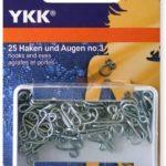 YKK 86131 Federhaken & Augen 12,0 mm / Nr. 3 silber, 25 Stück