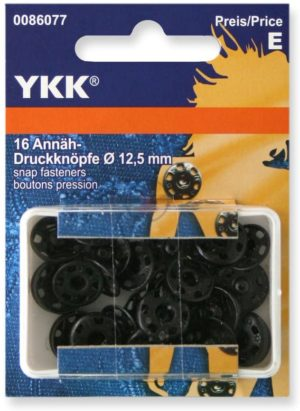 YKK 86077 Annäh-Druckknöpfe Messing 12,5 mm schwarz, 16 Stück