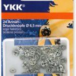YKK 86081 Annäh-Druckknöpfe Messing 6,5 mm silber, 24 Stück