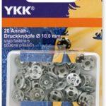YKK 86083 Annäh-Druckknöpfe Messing 10,0 mm silber, 20 Stück