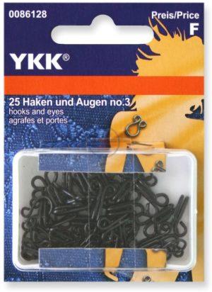 YKK 86128 Federhaken & Augen 12,0 mm/Nr. 3 schwarz, 25 Stück