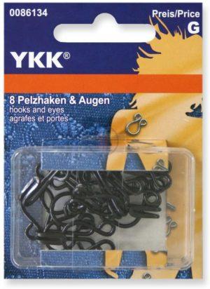 YKK 86134 Haken & Augen 18,0 mm/Nr. 9 schwarz, 8 Stück