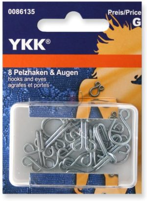 YKK 86135 Haken & Augen 18,0 mm/Nr. 9 silber, 8 Stück