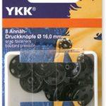 YKK 86079 Annäh-Druckknöpfe Messing 16,0 mm schwarz, 8 Stück
