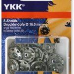 YKK 86087 Annäh-Druckknöpfe Messing 16,0 mm silber, 8 Stück