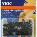 YKK 86126 Federhaken & Augen 8,0 mm / Nr. 1 schwarz, 35 Stüc
