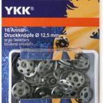 YKK 86085 Annäh-Druckknöpfe Messing 12,5 mm silber, 16 Stück